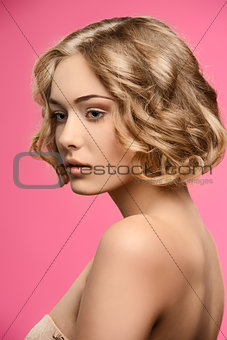 beauty girl with short curly hair