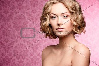beauty girl with short hair-cut