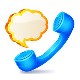 Handset and speech bubble.