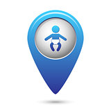 Map pointer with baby icon