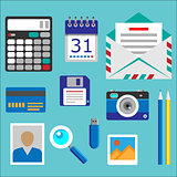 Flat designed office icons set
