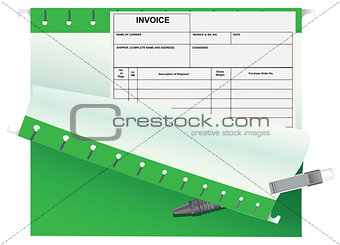 Accounting invoice office folder