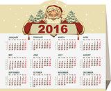 2016 calendar. Santa Claus holding banner