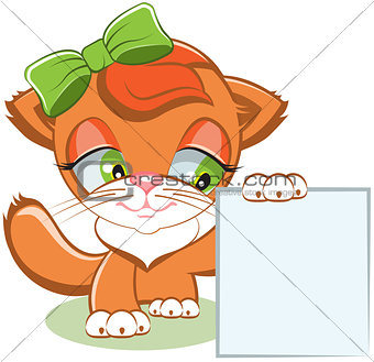Cat holding a blank sheet of paper