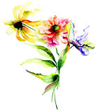 Watercolor illustration with wild flowers
