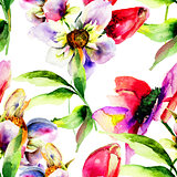 Seamless pattern with Gerber and Tulips flowers