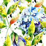 Seamless wallpaper with Hydrangea flowers