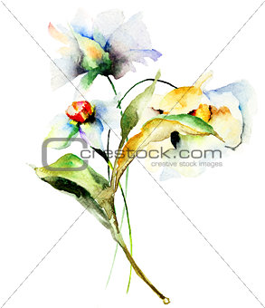 Watercolor painting with Blue flower