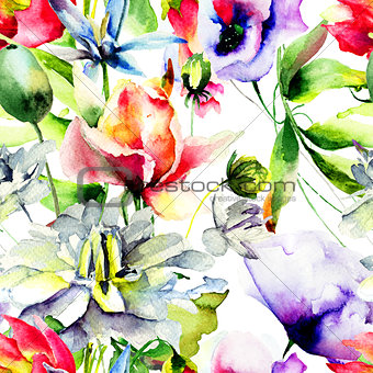 Watercolor illustration with wild flowers.