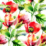 Seamless wallpaper with Rose and Poppy flowers