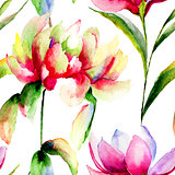 Seamless pattern with Magnolia and Peony flowers