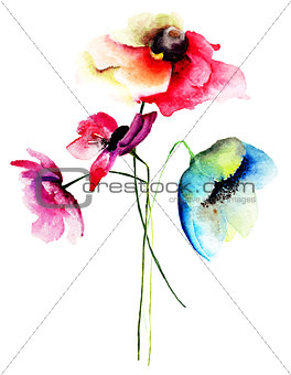 Watercolor illustration of Summer flowers