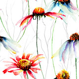 Watercolor illustration with Gerberas flowers