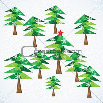 Green Christmas fir trees on white background.