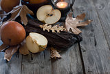 Asian pears, lantern and fall leaves