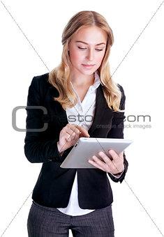 Smart businesswoman working on tablet