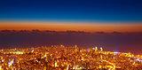 Bird eye view of night cityscape