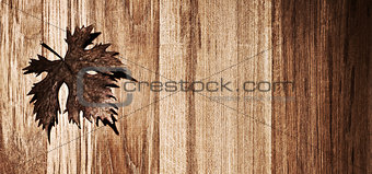 Autumn leaf wooden border