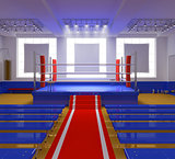Boxing gym with blue ring and red corners