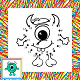 Funny vector alien (third). Dot to dot
