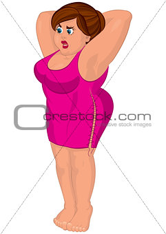 Cartoon young fat woman in pink dress barefoot