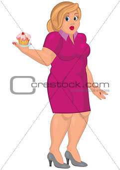 Cartoon young fat woman in pink dress holding capcake
