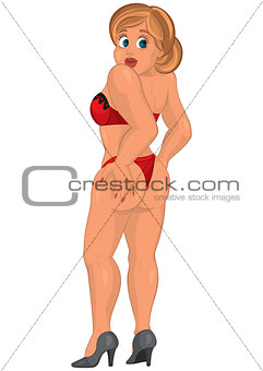 Cartoon young sexy woman in red underwear back view