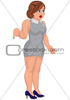 Cartoon young woman in gray mini dress standing