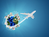 Earth with buildings on surface. Airplane and network icons