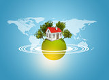 Earth with house and trees