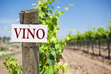 Vino Sign On Vineyard Post