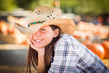 Pretty Preteen Girl Portrait at the Pumpkin Patch