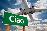 Ciao Green Road Sign and Airplane Above
