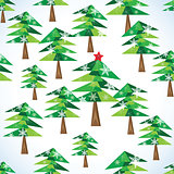 Green Christmas fir trees seamless background.
