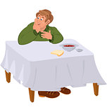 Happy cartoon man eating soup at the table