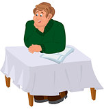 Happy cartoon man sitting at the table