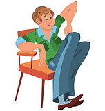 Happy cartoon man sitting in armchair in green west and blue pan