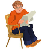 Happy cartoon man sitting in armchair in orange sweater reading