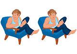 Happy cartoon man sitting in blue chair in blue top