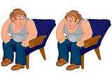 Happy cartoon man sitting in blue chair in gray top
