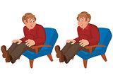 Happy cartoon man sitting in blue chair