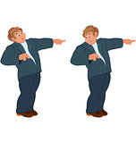 Happy cartoon man standing in blue suit and pointing with index