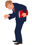 Happy cartoon man standing in blue suit with red book
