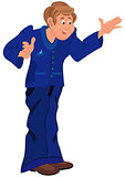Happy cartoon man standing in blue uniform