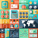 Set of flat design icons with financial infographics