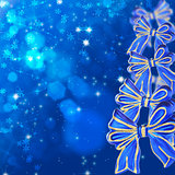 Christmas card with blue bows.