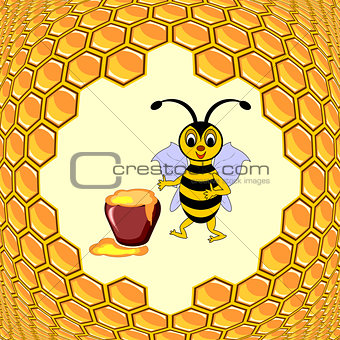 A cute cartoon bee with a honey pot and honeycombs