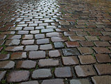 Wet cobblestone pavement