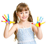 Adorable girl with hands painted in bright colors isolated on wh