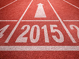 New year 2015 diggits on sport track with arrow. Good start, gro